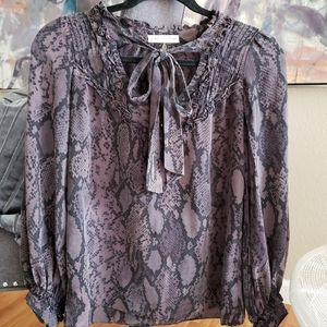 Women's Grey Rebecca Taylor Blk Silk blouse Sz S